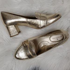 {Bandolino} Gold Loafer Heels